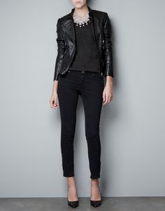 LEATHER BIKER JACKET WITH ZIPPERS SHOULDERS - Jackets - Women - ZARA Belgium