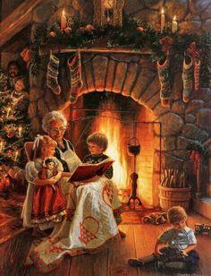 Warm and cozy Christmas children / grandma.