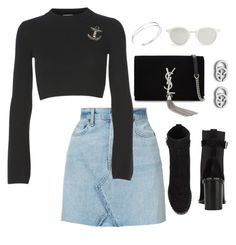 A fashion look from September 2017 featuring Julie Fagerholt, blue mini skirt and studded bootie. Browse and shop related looks. Girl Fashion, Fashion Looks, Fashion Outfits, Cool Outfits, Casual Outfits, Virtual Fashion, Everyday Dresses, Elegant Outfit, Outfit Sets