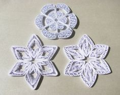 Set of 3 white quilled snowflakes / quilling ornaments / christmas decoration / Christmas gift