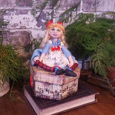 Alice In Wonderland - Alice - Figure - Wonderland - Sculpted Figure - Treasure Box - Box - Art Doll - Artistic Doll - OOAK Figure - by Rustiikkitupa on Etsy
