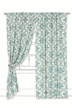 Tawi Curtain - Anthropologie.com Would look good with navy blue walls.