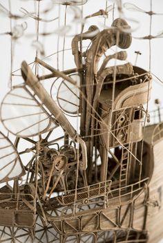 cardboard steampunk, dieselpunk miniature model airship, flying machine zeppelin, blimp made by jeroen van Kesteren