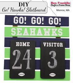 DIY #SEAHAWKS SCOREBOARD - Use our unfinished slatboard with wood boards, chalkboard paint and our easy peel-n-stick vinyl words to create this fun scoreboard! Perfect for your Seahawks parties.