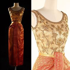 Evening dress, by Pierre Balmain, ca. 1963. Worn by Queen Sirikit of Thailand during a state visit to Japan.  Queen Sirikit Museum of Textiles  #BalmainBirthdaySpam