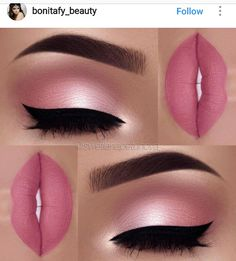 Makeup Idea In A Pink Color With Black Eyeliner A pink color is . - make up - Maquillaje Pink Makeup, Cute Makeup, Gorgeous Makeup, Pretty Makeup, Amazing Makeup, Hair And Makeup, Orange Makeup, Makeup Hairstyle, Black Makeup