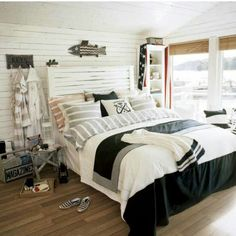 Rustic White And Blue Cozy Coastal Cottage Bedroom !