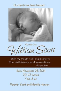 Birth Announcement Blessed Family digital by jtdesignsprinting, $15.00