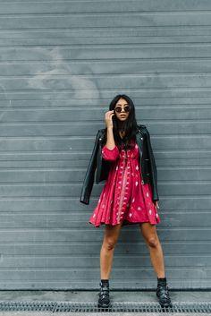 free people red dress star gazer black leather maje jacket givenchy studded leather boots blogger kayla seah style fashion outfit inspiration lookbook streetstyle model
