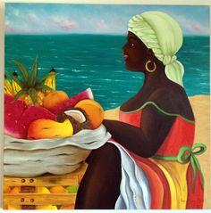 Palenquera en Cartagena - Oleo Romantic Drawing, African Art Paintings, Haitian Art, Cuban Art, Caribbean Art, Black Art Pictures, African American Artist, Epic Art, Expressive Art