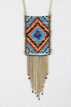 Native Beaded Pendant Necklace