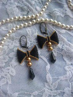 Серьги-бантики (в серебре/в золоте) - чёрный,золотистый,золото,бантик
