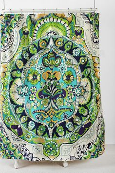 Painted Mandala Shower Curtain UrbanOutfitters I could have a psychedelic journey every time I shower! - Model Home Interior Design Funky Shower Curtains, Mandala Shower Curtain, Shower Curtain Art, Apartment Essentials, Mandala Print, Just Dream, Entryway Decor, Bad, Diy Home Decor