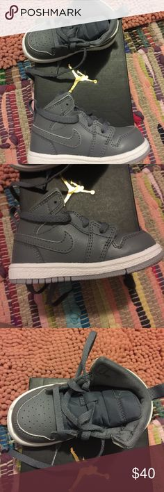 Jordan 1 MID BT Air Force ones grey 5 C Children's jordans shoes ... my baby wore them once for less than an hour so I pictured the soles .... Jordan Shoes Sneakers