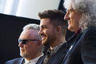 From left, Roger Taylor, Adam Lambert and Brian May announce a Queen + Adam Lambert summer tour, on Thursday, March 6, 2014 in New York. (Ph...