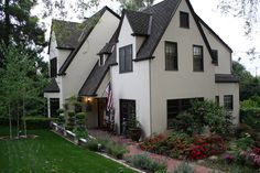 """I went on the internet and found SO many roses that depict the era of the house, and bought as many as I could afford, and created this amazing English Garden with English, Hybrid Tea, 1914-1930 roses.  English Lavender (the """"real"""" English Lavender) can also be bought online. English Tudor, Santa Clara, To Go, Lavender, Roses, Cottage, Internet, Tea, Mansions"""