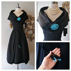 Late 50's black satin cocktail dress with turquoise rosette and dangling buds By Jackie Morgan
