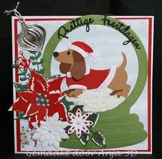 En weer een kerstkaart   De smaak weer een beetje te pakken   Ook omdat ik afgelopen keer op de hobby beurs deze teckel gekocht heb   Ik vi...
