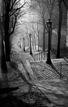 Montmartre, Paris, France, 1936 by Brassai.my favorite place we visited in paris Montmartre Paris, Black White Photos, Black And White Photography, Black Picture, Beautiful World, Beautiful Places, Beautiful Pictures, Beautiful Streets, Simply Beautiful