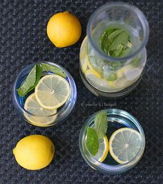 Lemon & Mint Water - So need to make this! Had it at Pickity Place...amazing!