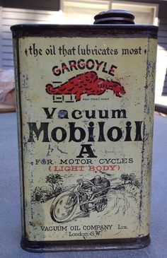 """Gargoyle Vacuum Mobiloil """"A"""" MOTORCYCLE OIL CAN sold for $931"""