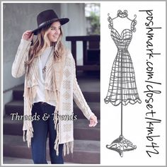 Khaki Aztec Fringe Cardi Khaki cardi Aztec print with fringe detail. Great oatmeal & kanaka color to create a lot of looks. Made of a knit fabric. S, M, L final price no additional discounts. Threads & Trends Sweaters