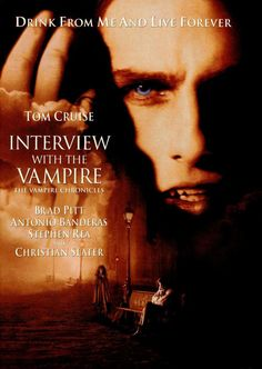 Interview with a Vampire Brad Pitt, Tom Cruise, Antonio Banderas and Kirsten Dunst star in this wonderful movie based on the novel by Anne Rice. I also love Christian Slater in this movie. This movie is rich and sensual. Tom Cruise plays a horrif Christian Slater, Best Horror Movies List, Scary Movies, Great Movies, Tom Cruise, See Movie, Movie List, Movie Tv, Brad Pitt