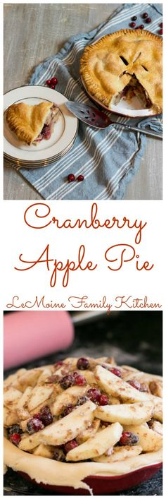 This Cranberry Apple Pie is amazing with the easy homemade pie crust and just slightly sweet and slightly tart filling. Thanksgiving Desserts Easy, Great Desserts, Fall Desserts, Dessert Recipes, Dessert Ideas, Apple Cranberry Pie, Apple Pie, Tart Filling, Tart Recipes