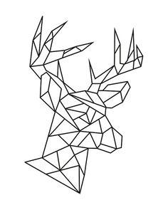 Geometric deer head instant download digital print 8x10 pdf jpg