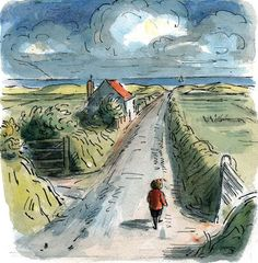Edward Ardizzone - The Long Road, from Peter the Wanderer Picture book Media: watercolour + fine liner Edward Ardizzone, Children's Literature, Children's Book Illustration, Mail Art, Illustrations Posters, Original Artwork, Book Art, Kid Drawings, Paintings