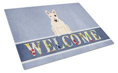 Bull Terrier White Welcome Glass Cutting Board Large BB5719LCB