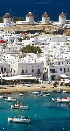 The Windmills of Mykonos, Greece // Get more travel ideas and inspiration for Greece at http://www.holidaystoeurope.com.au/home/resources/destination-articles/greece