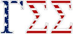 """Gamma Sigma Sigma American Flag Greek Letter Sticker - 2.5"""" Tall from GreekGear.com"""