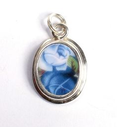 Broken China Jewelry - Royal Albert - Moonlight Roses - Sterling Silver Charm $62