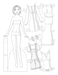Black and white fashion paper doll to color