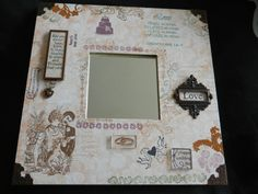 Altered Ikea Mirror Ikea Mirror, Happy Wedding Day, Decoupage Vintage, Malm, Altered Art, Picture Frames, Projects To Try, Shabby Chic, Scrapbooking