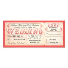 Vintage ticket wedding invite and RSVP combo in pink!