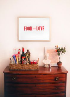 Food Equals Love 18 by 24 Letterpress Poster Red Ink