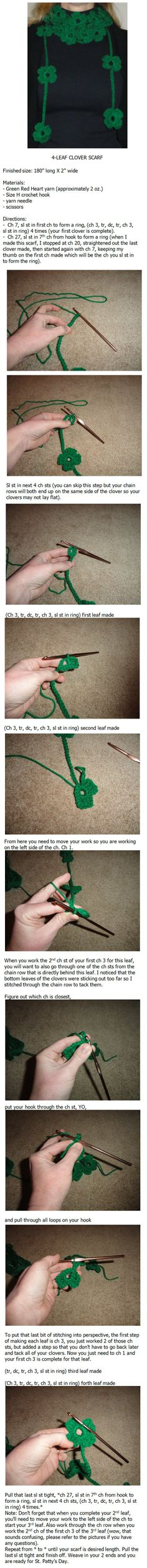 4-leaf clover scarf crochet pattern