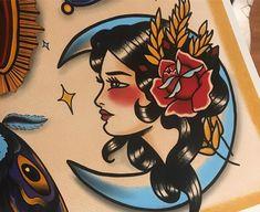 Ideen Tattoo Moon Old School Ideen Tattoo Moon Old School Th . - Ideen Tattoo Moon Old School Ideen Tattoo Moon Old School Dieses Bild hat 1 - Traditional Tattoo Woman, Traditional Tattoo Old School, Traditional Tattoo Design, Traditional Tattoo Flash, How To Draw Traditional Tattoo, Traditional Tattoo Illustration, Traditional Gypsy Tattoos, American Traditional Tattoos, American Style Tattoo