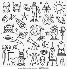 Find Space Icons Set stock images in HD and millions of other royalty-free stock photos, illustrations and vectors in the Shutterstock collection. Minimal Drawings, Space Drawings, Cute Drawings, Embroidery Works, Book Illustration, Illustrations, Doodle Designs, My Notebook, Mini Tattoos