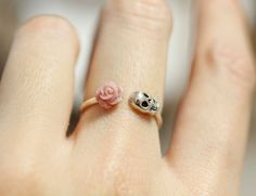 Pink Rose and Skull ring in sterling silver by zizibejewelry, $32.00.