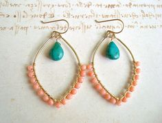Peach Coral Turquoise Earrings, Hammered Gold Filled Hoops With Wire Wrapped Turquoise and Coral. $42.00, via Etsy.