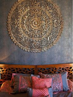 La Mosaique Murale. Bedroom Furniture, Home Decor Bedroom, Asian Bedroom Decor, Asian Inspired Bedroom, Asian Inspired Decor, Farmhouse Bedroom Decor, Mandala Mural, Mandala Tapestry, Panel Wall Art