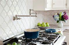 White Kitchen Backsplash Tile-Beveled Arabesque