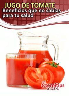 Los beneficios del jugo de tomate para la salud   Eternitips Red Vegetables, Refreshing Drinks, Home Remedies, Health Tips, Healthy Recipes, Fruit, Food, Wordpress, Chocolate