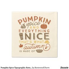 Pumpkin Spice Typographic Autumn Cocktail Napkin