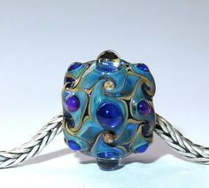 Luccicare Lampwork Bead -  Aladdin - Focal -  Lined with Sterling Silver by Luccicare on Etsy