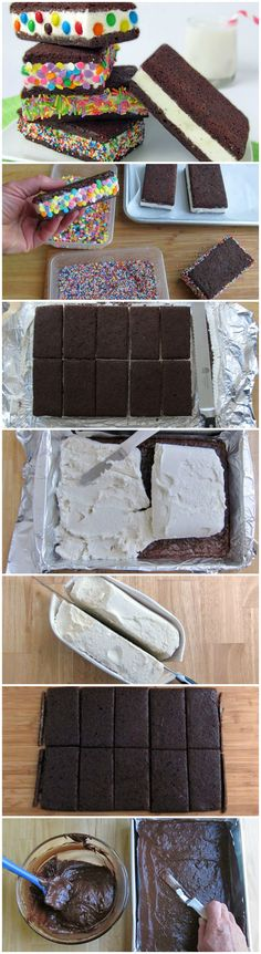 Brownie Ice Cream Sandwiches Ice cream sandwiched between two rich and fudgy brownies. Add sprinkles, nuts, or cookie crumbs to make your ice cream sandwiches more festive! Ice Cream Desserts, Frozen Desserts, Ice Cream Recipes, Frozen Treats, Just Desserts, Delicious Desserts, Dessert Recipes, Yummy Food, Homemade Ice Cream Sandwiches