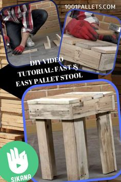 If you've got a man cave, a garage or workshop that you hang out in, it seems that family and friends always want to hang out with you. However, they are regularly taking your work seat. Solve the problem with this Fast Pallet Stool! Watch the DIY Video Tutorial and make your Fast Pallet... #DiyPalletIdeas, #DiyVideoTutorial, #Garage, #ManCave, #Outdoors, #PalletOttoman, #PalletSeat, #PalletStool, #PartyDecor